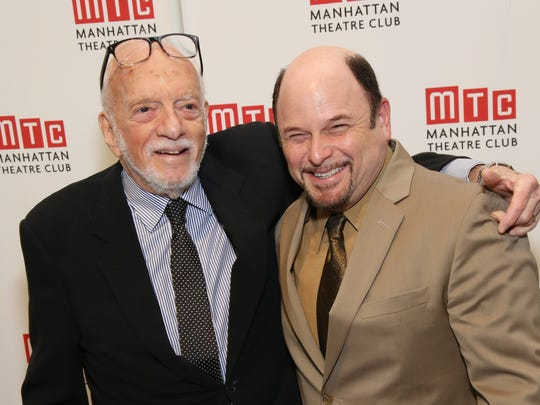 Hal Prince, left, and Jason Alexander share a laugh