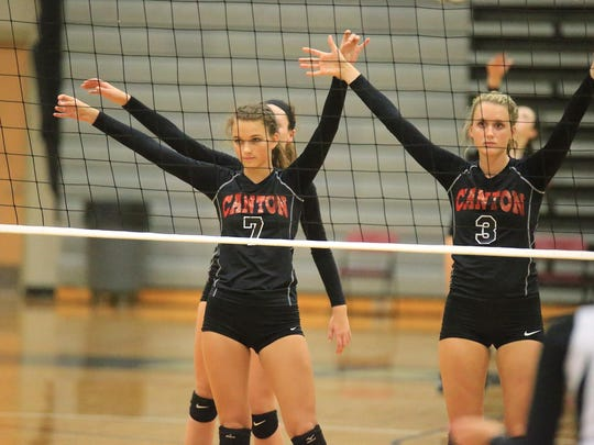 In the ready position for the Canton Chiefs are Gabby den Boer (No. 7) and Hannah Madis (No. 3).