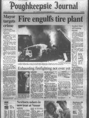 A clipping from the Poughkeepsie Journal archives shows firefighters battling a five-day blaze that started Jan. 1, 1996 at the Polytech Tire Recycling Facility on Route 22 in Dover. That fire took 46 departments from Dutchess, Orange, Putnam, Columbia counties and Connecticut to quell the flames.