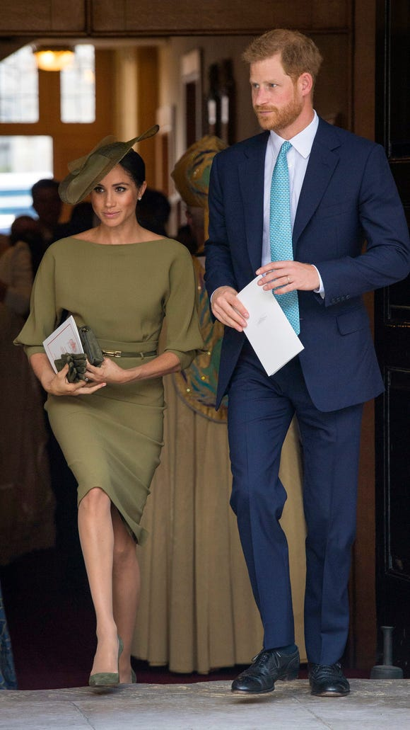 Prince Harry and his bride, Duchess Meghan of Sussex, attended the christening of Prince Louis of Cambridge at the Chapel Royal in St James's Palace in London July 9, 2018.
