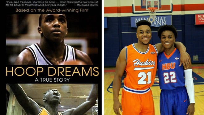 """Houston Baptist guards Will Gates Jr. (21) and Jalen Gates (22) are the sons of William Gates Sr., who was featured in the acclaimed documentary """"Hoop Dreams."""""""