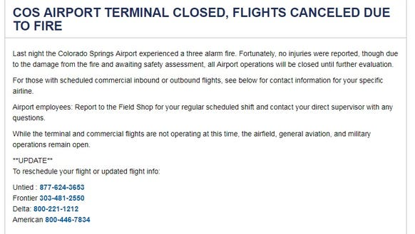 The Colorado Springs Airport posted a warning on its