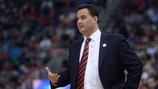March 18, 2017: Arizona Wildcats head coach Sean Miller watches game action against the Saint Mary's Gaels during the first half in the second round of the 2017 NCAA Tournament at Vivint Smart Home Arena.