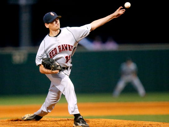 Stewarts Creek's Aaron Moriarty (13) pitches against