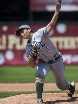 Rice's William Hesslink arms it against CVU during the Division I state high school baseball championship at Centennial Field in Burlington on Saturday, June 13, 2015.