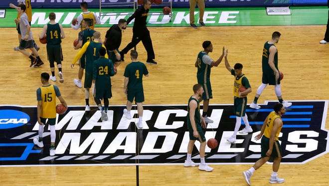 The Vermont team is shown during practice before the first round of the NCAA Division I Men's Basketball Championship Wednesday, March 15, 2017 at the BMO Harris Bradley Center in Milwaukee, Wis.