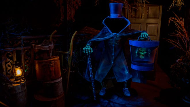 The Hatbox Ghost reappears in the Haunted Mansion at Disneyland Park in Anaheim, California. This legendary figure briefly materialized around the opening of the attraction in 1969 and has found a new home looming over guests as they enter the cemetery.