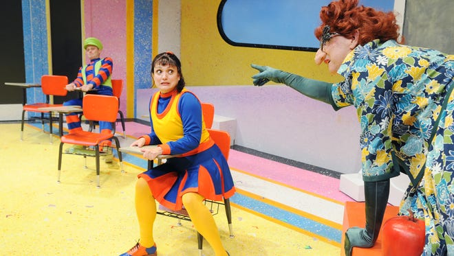 "Mrs. Gorf (Jon Gentry, right) threatens her students (played by Angelica Howland and Tommy Strawser) in Childsplay's ""Sideways Stories From Wayside School."""