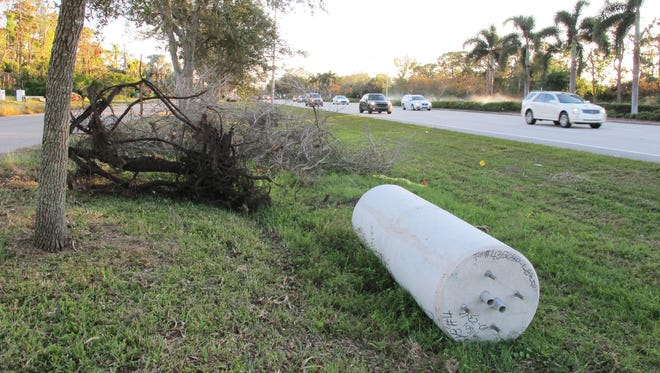 The concrete cylinders recently seen along U.S. 41 north of Pine Ridge Road are precast bases for light poles. A Florida Department of Transportation construction project is adding sidewalks and lighting to that North Naples area.