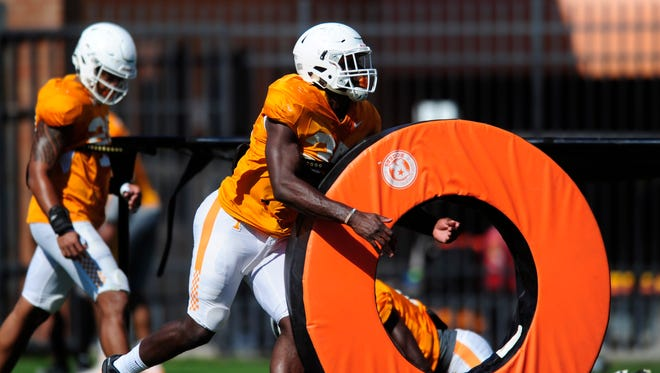 Tennessee's Daniel Bituli (35) during Tennessee Volunteers spring football practice.