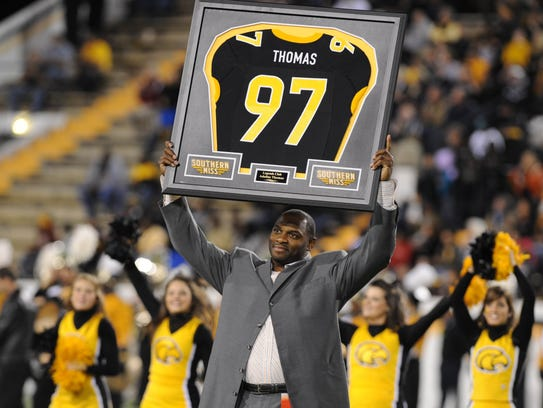 Former Southern Miss star Adalius Thomas was honored
