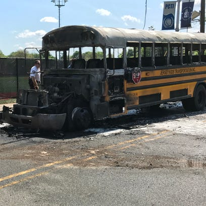 A Jersey Kids Transportation Inc. bus catches fire