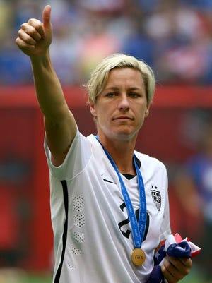 Abby Wambach celebrates the U.S. win over Japan in the Women's World Cup final on July 5, 2015.