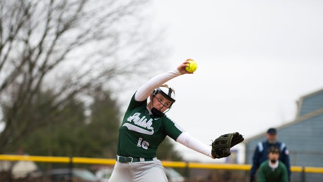 Camden Catholic's Madison Marks pitches in a 10-0 loss to Cherokee on Tuesday. Marks and the Irish will play in the sixth annual Camden County Tournament this weekend at Eastern High School.