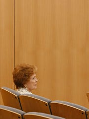 Maricopa County Recorder Helen Purcell watches the proceedings on April 20, 2016, as the Maricopa County Board of Supervisors listens to testimony in regards to the increase of polling places.