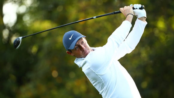 Rory McIlroy from Northern Ireland hits his tee shot