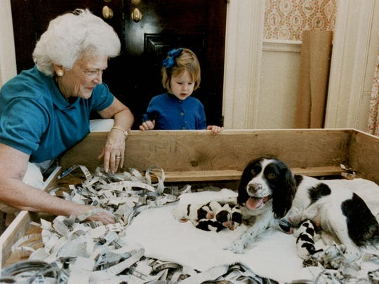First lady Barbara Bush and her granddaughter, Marshall