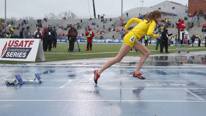 Iowa City West's Valerie Welch competes in the 400 meter hurdles at the Drake Relays on Saturday, April 30, 2016, in Des Moines. She came in second place.