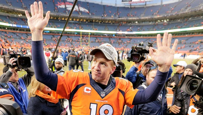 Denver quarterback Peyton Manning waved to fans after the Broncos defeated New England in the AFC Championship game two weeks ago.