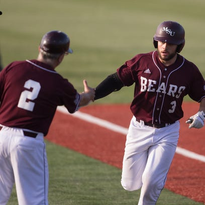 David Martinelli (33) walked and scored in both the third and fifth innings for Dallas Baptist on Saturday night.