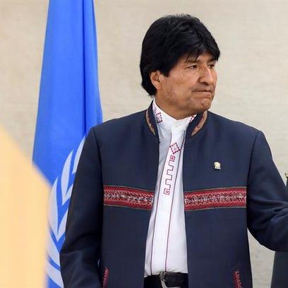 Evo Morales, asiste a una rueda de prensa con motivo del décimo aniversario del Consejo de Derechos Humanos de Naciones Unidas.