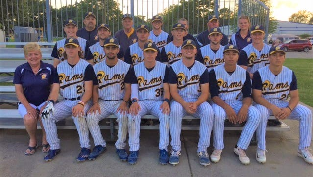 The Michigan Rams recently clinched the Michigan Collegiate Baseball League championship. In the front row (from left) are June Berryman, Jack Ferguson, Anthony DiPonio, Gordon Ferguson, Zack Schmidtke, Tristen Jorah and Troy Saruna. In the middle row (from left) are Patrick Downing, Frankie Luscka, Alex Nicholson, Trevor MacDonald, Jordyn Finney and Kevin O'Malley. In the back row (from left) are Harv Weingarden, Rick Berryman, Brendan Wetmore, Joe Azarovity, Nate Hoffman and Diana Hoffman. Not pictured are Branden Posky, Addison Pawelek, Gary Turnbull and Dylan Dzendzel.