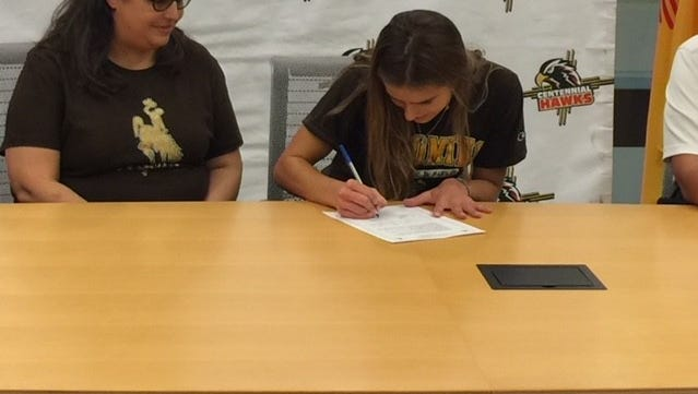 Centennial's Jessa Gegax signed with the University of Wyoming for track and field on Wednesday.
