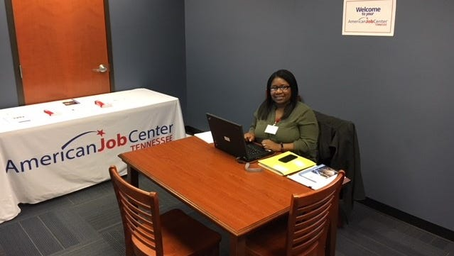 American Job Center career specialist Destinye Johnson set up at the Portland Public Library in February. The organization is making an effort to be present in Sumner County communities to help people of all walks of life get employed.