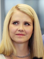 Elizabeth Smart looks on during a 2017 tour of the