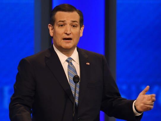 Ted Cruz speaks during the Republican debate on Feb.