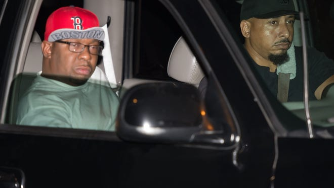 Bobby Brown driven away from the Peachtree Christian Hospice after Bobbi Kristina Brown died on July 26, 2015, in Duluth, Georgia.