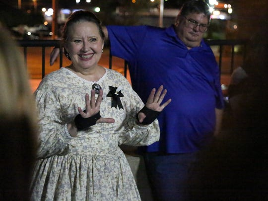 Donna Lucas engages the participants of the Gallatin Ghost Walk,