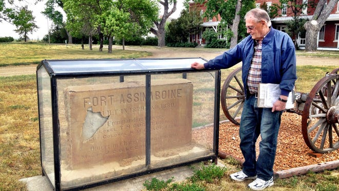 Found in a field, this stone has been restored to a place of honor at Fort Assiniboine. Gary Wilson worked for decades to preserve the fort near Havre.