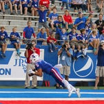 Louisiana Tech wide receiver Trent Taylor makes a diving catch for a touchdown in a 43-14 win over UL Lafayette.