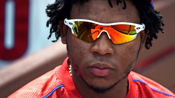 Phillies third baseman Maikel Franco on the bench during the Aug. 30 game against the San Diego Padres at Citizens Bank Park. Credit: Eric Hartline-USA TODAY Sports