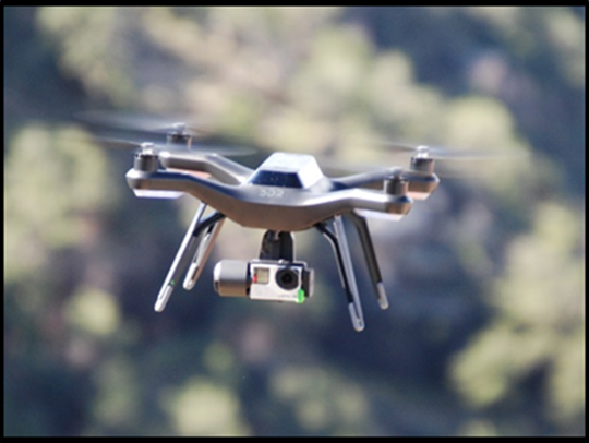 One of the drones used at the Grand Canyon hovers in