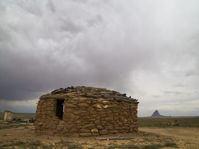 This traditional Navajo hogan near Shiprock, N.M.,