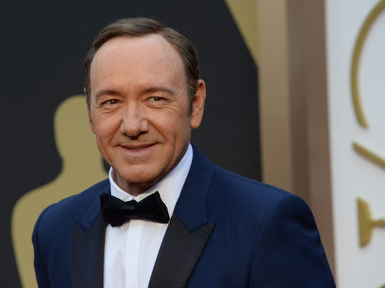 Kevin Spacey, arriving on the red carpet for the 86th Academy Awards, will not have an awards push for 'All the Money in the World.'