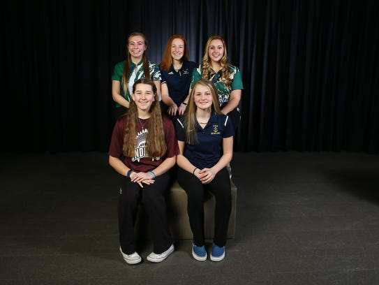 2018 All-Shore girls bowling. Front row: Natalie Swindell