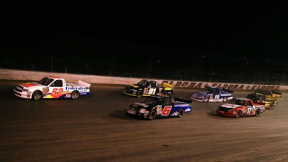 The Camping World Truck Series raced on the dirt track at Eldora Speedway on July 24.