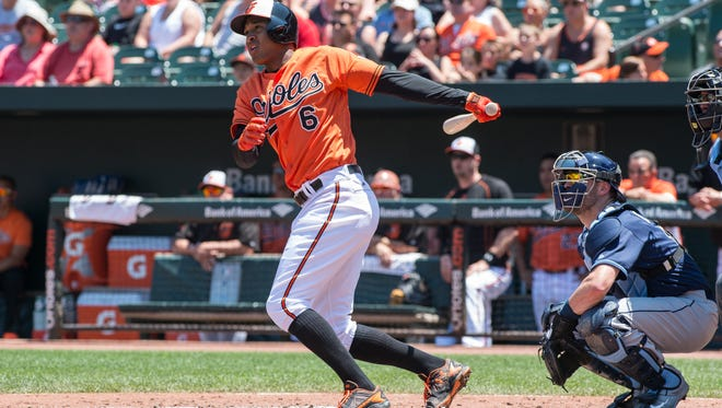 Orioles Jonathan Schoop at bat during a game against the Tampa Bay Rays on Saturday, June 25, 2016.
