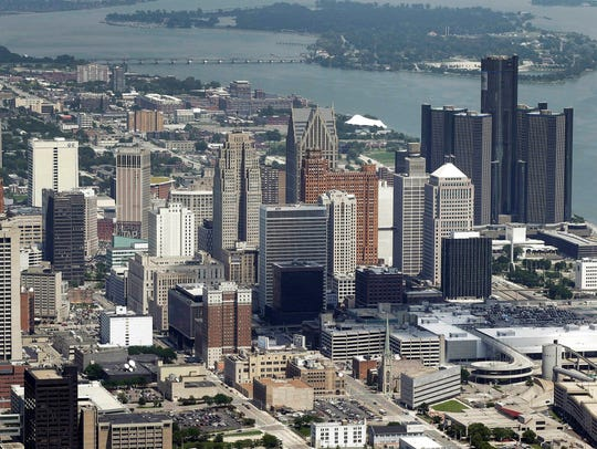 This July 16, 2013, aerial file photo, shows downtown Detroit.