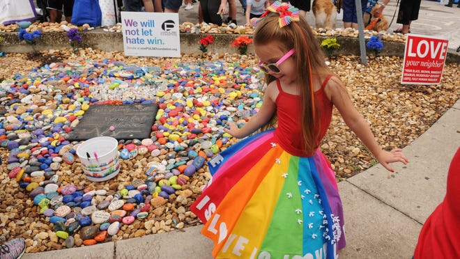 Lane Rouch, 5, of Apopka brought plenty of smiles on a sad day. June 12, 2017 marks the one-year anniversary of the Pulse nightclub massacre that took 49 lives and wounded over 50 others. A packed public event was held from 11:00am-1:00pm at the sight of the killings.