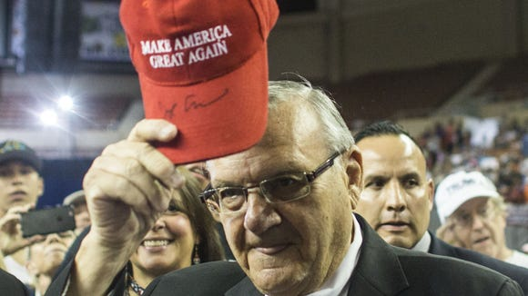 Sheriff Joe Arpaio at a Trump rally in Phoenix.