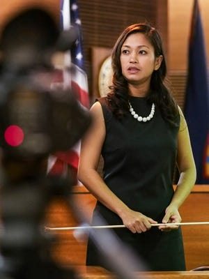 Witness Kathy Ruszala takes the stand and testifies in the murder trial of former Guam police officer Mark Torre Jr. at the Superior Court of Guam in Hagåtña on Friday, Feb. 17, 2017. Ruszala recalled seeing Torre and Guam police Sgt. Elbert Piolo in the early morning hours before the July 2015 shooting that resulted in Piolo's death.
