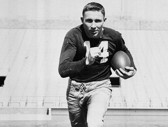 In this 1951 photograph, former Notre Dame halfback/defensive