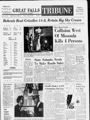 Front page of the Great Falls Tribune from Sunday, Nov. 5, 1967.
