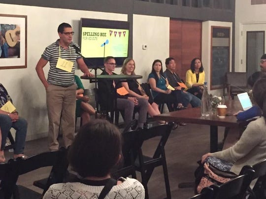 Can you use that in a sentence? The competitors face off at an adult spelling bee in Phoenix, October 2015.