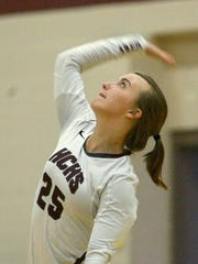 Hardin County's Katie Beth Tennison serves against Liberty last week.