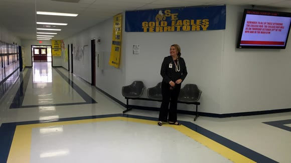 San Elizario High School Principal Maribel Guillen stands in the ninth-grade hallway on Oct. 29.